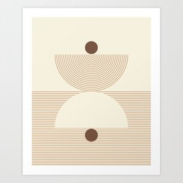 Geometric lines in Shades of Coffee and Latte 6 (Sunrise and Sunset) Art Print