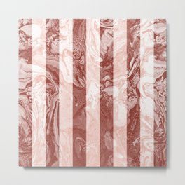 Geometric Stripes Line Coral Blush Ombre Terracotta Marble Metal Print