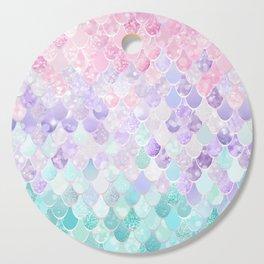 Cute Mermaid Pattern, Light Pink, Purple, Teal Cutting Board