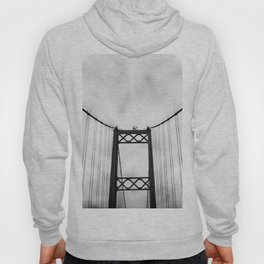 Vintage Monochromatic Black and White Bridge with Clouds Fine Art Print Hoody