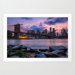 Sunset at Pebble Beach DUMBO Brooklyn New York summer time 2019 Art Print
