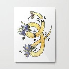 Yellow snake and crocuses Metal Print
