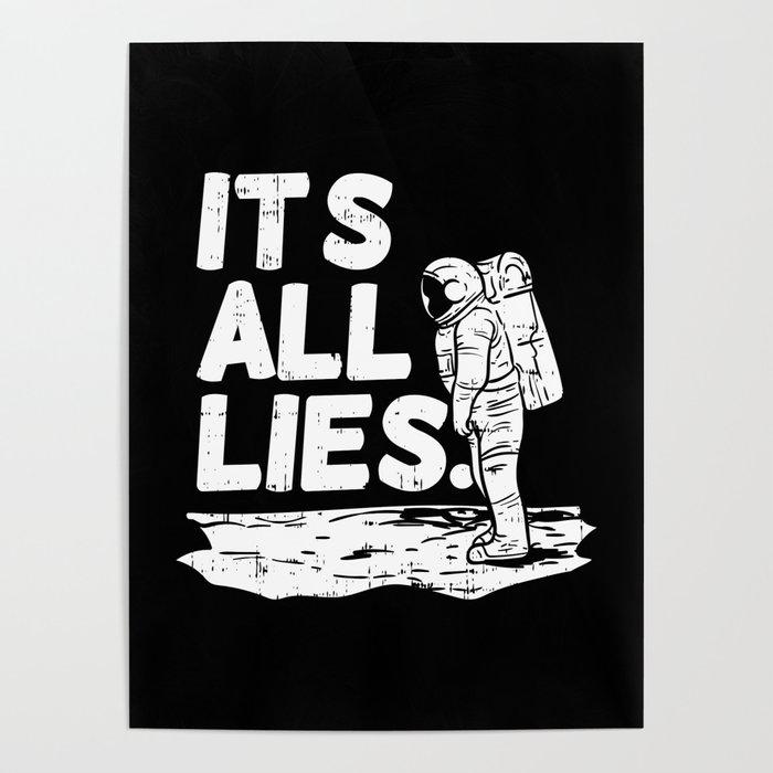 Moon Landing Conspiracy Theory Fake Illuminati Shirt & Gift Poster by  pubeast