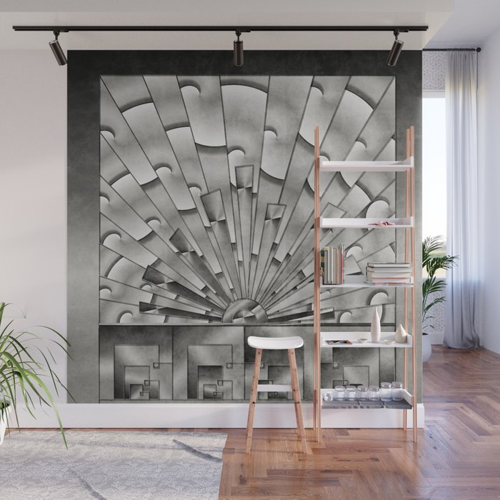 Mercury Glass Art Deco Sunburst Wall Mural By Sandandchi Society6