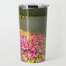 Azaleas and lake in Azores Travel Mug