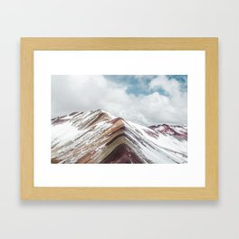 Snow-capped Rainbow Mountain (Montaña de Siete Colores) in the Andes mountains, Peru Framed Art Print