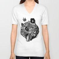 panda V-neck T-shirts featuring Panda by Feline Zegers