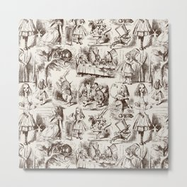 Alice in Wonderland | Toile de Jouy | Brown and Beige Metal Print