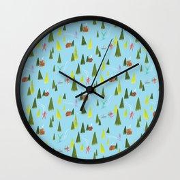 Ski Lodge Pattern Wall Clock