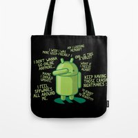android Tote Bags featuring PARANOID ANDROID by Letter_q