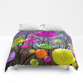 Colorful Lanterns Swinging In The Trees Comforters