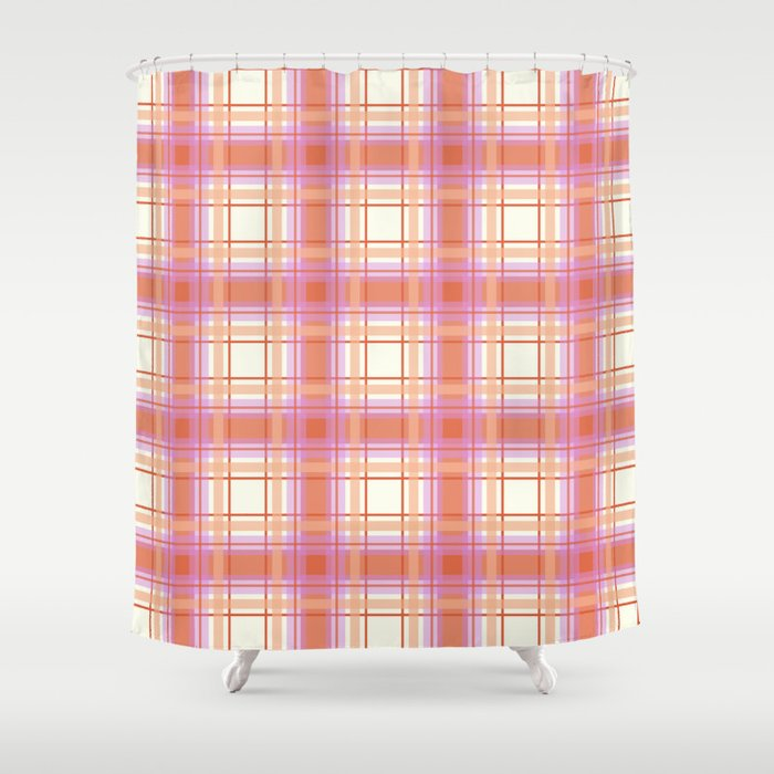 Peach Plaid With Pink And Yellow Shower Curtain