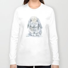 Mini Lop Gray Rabbit Watercolor Painting Long Sleeve T-shirt