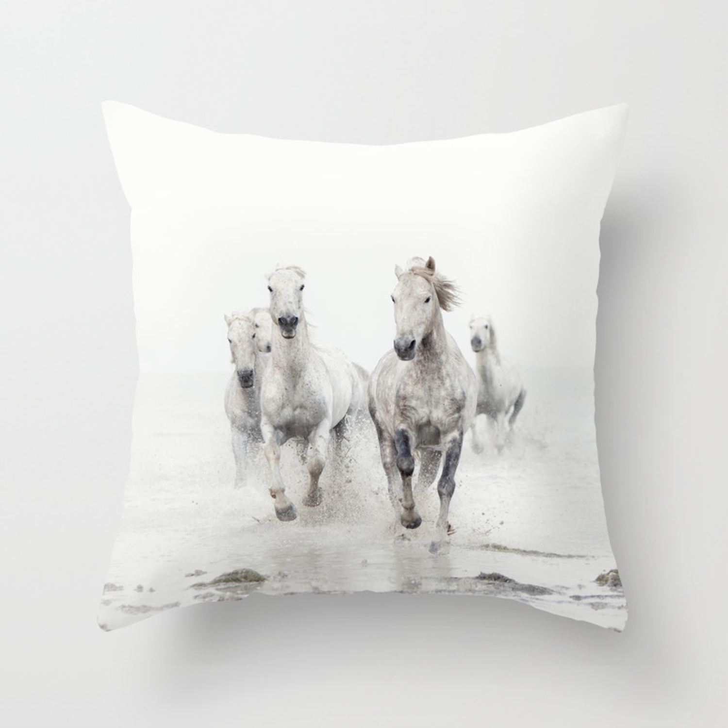 Camargue White Horses Running In Water Nature Photography Throw Pillow By Eyepoetry Society6