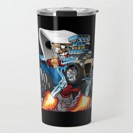 Custom T-bucket Roadster Hotrod Cartoon Illustration Travel Mug