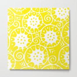 Lemon Swirl Pattern | Swirl Pattern | Abstract Patterns | Yellow and White | Metal Print
