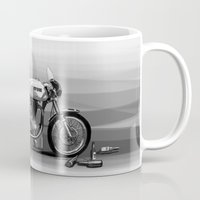 cafe racer Mugs featuring Beer Savage Vintage Norton Cafe Racer by TCORNELIUS