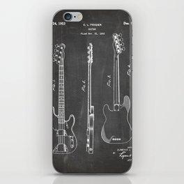 Bass Guitar Patent - Bass Guitarist Art - Black Chalkboard iPhone Skin