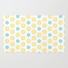 Spring Yellow Blue Flower Pattern Rug