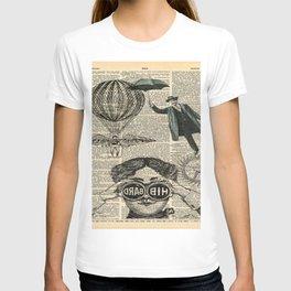 newspaper print dictionary page binoculars hot air balloon victorian steampunk T-shirt