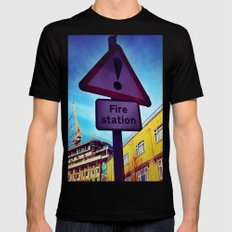 Fire Station Black MEDIUM Mens Fitted Tee