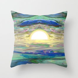 An Abstract Sunrise of a Sunset at the Beach Throw Pillow