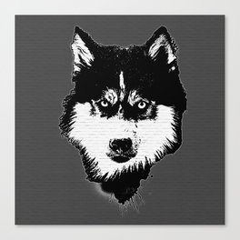 husky dog face grafiti spray art Canvas Print