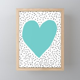 Turquoise heart with grey dots around Framed Mini Art Print