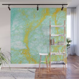 Abstract turquoise gold yellow white marble Wall Mural