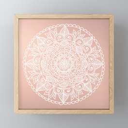 White Mandala on Rose Gold Framed Mini Art Print