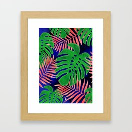 Plant green and coral Framed Art Print