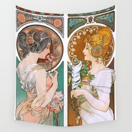 Alphonse Mucha Primrose and Feather Wall Tapestry