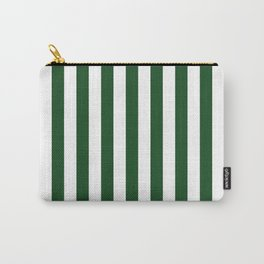 Large Forest Green and White Rustic Vertical Beach Stripes Carry-All Pouch