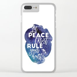 Bible verse watercolor typography blue background Colossians 3:15 Clear iPhone Case