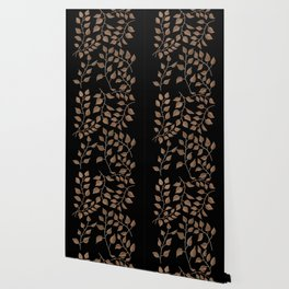 Gold Branches on Black Wallpaper