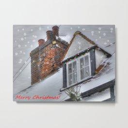 Winter Cottage Christmas Metal Print
