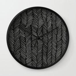 Herringbone Cream on Black Wall Clock
