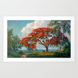Royal Poinciana Tropical Florida Keys Landscape by A.E. Backus Art Print
