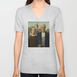 American Gothic by Grant Wood Unisex V-Neck