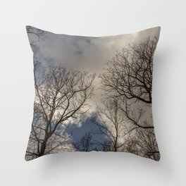 Tree tops with clouds on the background Throw Pillow