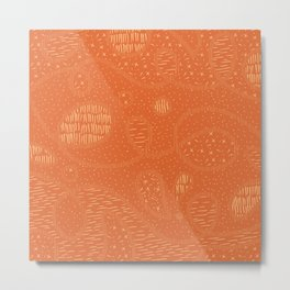 Curly Textured Abstract (Terracotta) Metal Print