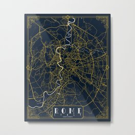 Rome City Map of Italy  - Gold Art Deco Metal Print