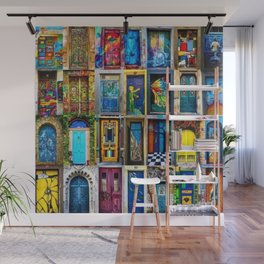 Behind Every Door (Is A Home), Collage Painting of Colorful World Doors by Jeanpaul Ferro Wall Mural