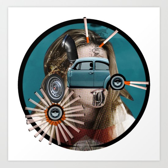 She really loves to smoke in her car Art Print