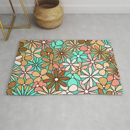 Mid Century Modern Flower Power Hippie Colors - Turquoise Cyan, Peach, Pink, Coral, Brown  Rug