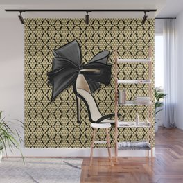 High Heel Shoe with Gold and Black Fishnet Lace Decor Pattern Wall Mural