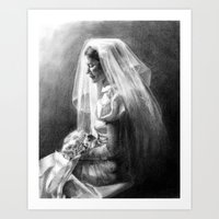 bride Art Prints featuring Bride by Hugo F G