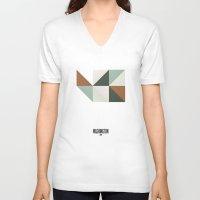washington V-neck T-shirts featuring Geometric Washington by INDUR