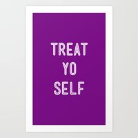 parks and recreation Art Prints featuring Treat Yo Self Purple - Parks and Recreation by Sandra Amstutz