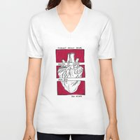 house of cards V-neck T-shirts featuring House of Cards in Red  by Art by Alexandra